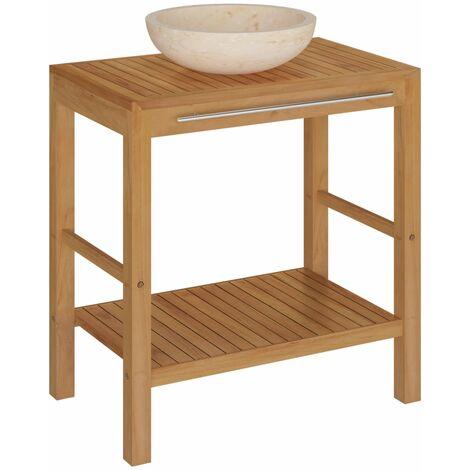 vidaXL Bathroom Vanity Cabinet Solid Teak with Sink Marble Cream - Brown