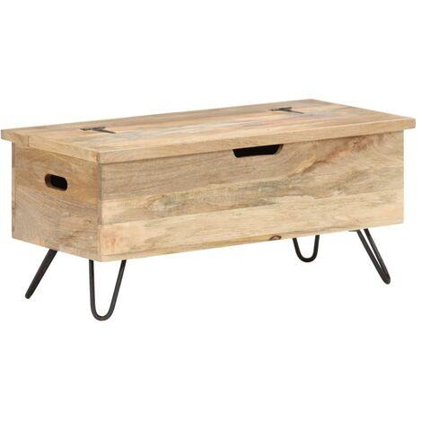 vidaXL Baúl madera maciza de mango 90x40x45 cm - Marrón