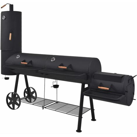 vidaXL BBQ Charcoal Smoker with Bottom Shelf Black Heavy Offset Smoker Charcoal Barbecue Grill BBQ Stand Outdoor Party Picnic Gathering XXL/XXXL