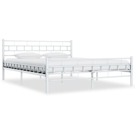vidaXL Bed Frame Bedroom Furniture Bed Accessory Double Two-person Slatted Base Bedstead for Adults Children Metal Black/White Multi Sizes