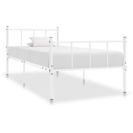 vidaXL Bed Frame Bedroom Furniture Classic Solid Construction Bed Accessory with a Slatted Base Bedstead Base Metal Multi Colours/Sizes