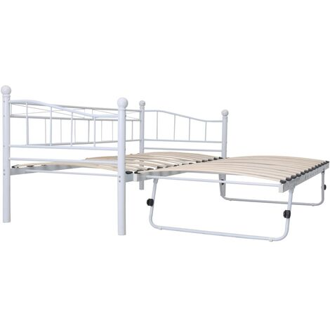 vidaXL Bed Frame Bedroom Furniture Double Guest Lounge Bed Slatted Base Bedstead DayBed with Trundle Leisure Sofa Steel 180x200/90x200cm Black/White