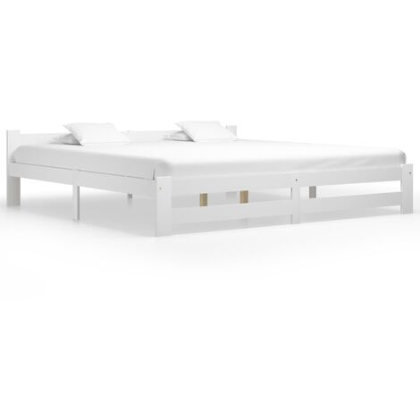vidaXL Bed Frame White Solid Pine Wood 200x200 cm - White