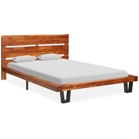 vidaXL Bed Frame with Live Edge Solid Acacia Wood 90 cm - Brown