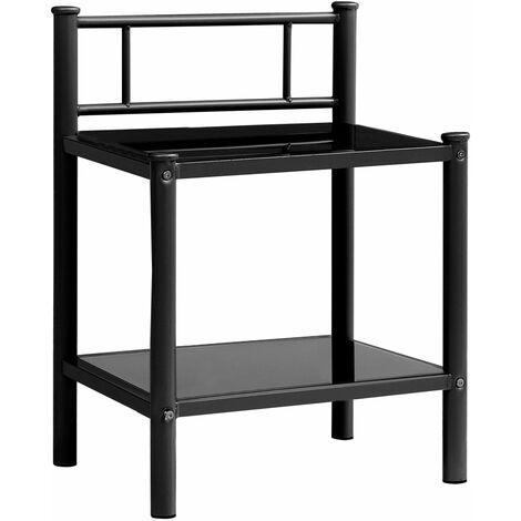 "main image of ""vidaXL Bedside Cabinet Black 45x34.5x60.5 cm Metal and Glass"""