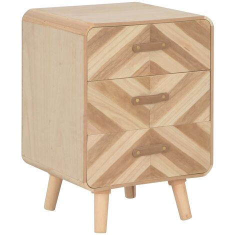 """main image of """"vidaXL Bedside Cabinet with 3 Drawers 40x35x56.5 cm Solid Wood - Beige"""""""
