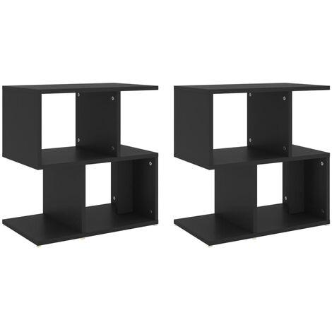 "main image of ""vidaXL Bedside Cabinets 2 pcs Black 50x30x51.5 cm Chipboard - Black"""