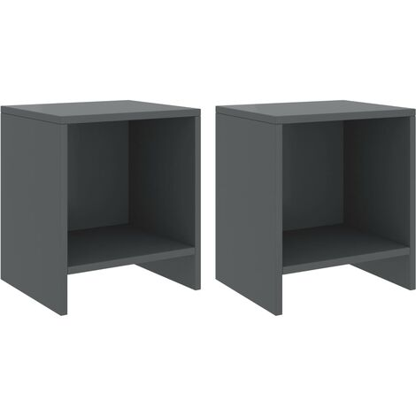 vidaXL Bedside Cabinets 2 pcs Dark Grey 35x30x40 cm Solid Pinewood - Grey