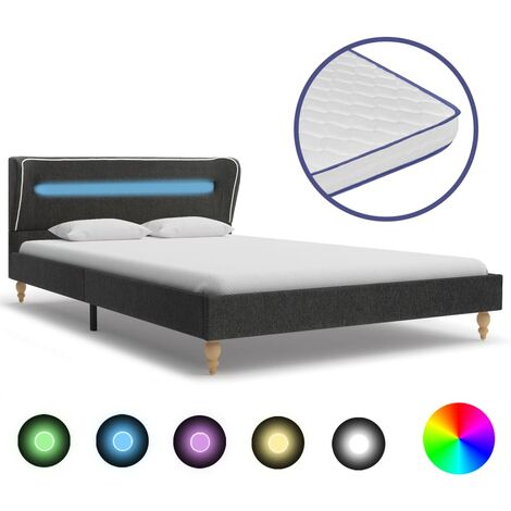 vidaXL Bett mit LED Memory-Schaum-Matratze Polsterbett Doppelbett Schlafzimmerbett Bettgestell Bettrahmen Lattenrost Dunkelgrau Sackleinen mehrere Auswahl