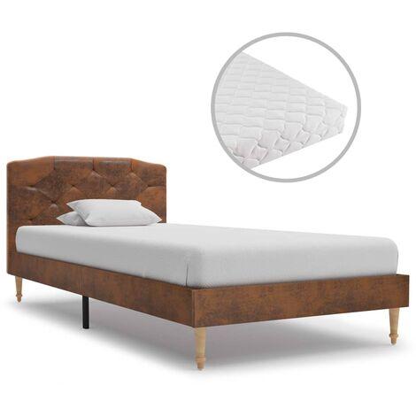 vidaXL Bett mit Matratze Polsterbett Doppelbett Ehebett Bettgestell Bettrahmen Lattenrost Schlafzimmerbett Braun Wildleder-Optik mehrere Auswahl