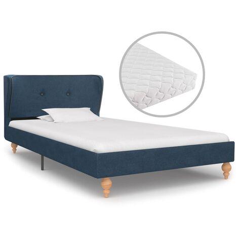 vidaXL Bett mit Matratze Polsterbett Doppelbett Ehebett Stoffbett Bettgestell Bettrahmen mit Lattenrost Schlafzimmerbett Stoff mehrere Auswahl