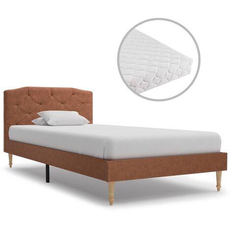 vidaXL Bett mit Matratze Polsterbett Stoffbett Doppelbett Ehebett Bettgestell Bettrahmen Lattenrost Schlafzimmerbett Stoff mehrere Auswahl