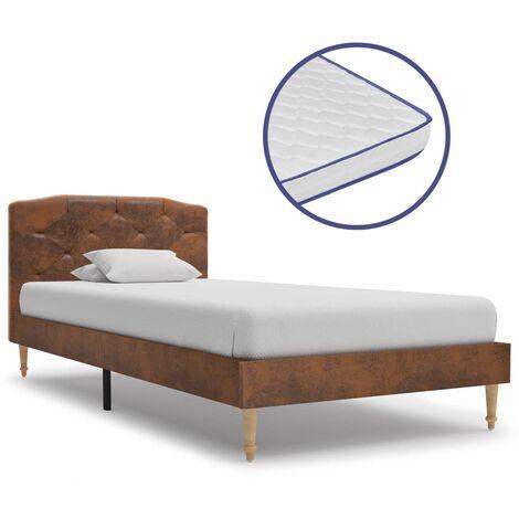 vidaXL Bett mit Memory-Schaum-Matratze Polsterbett Doppelbett Ehebett Bettgestell Bettrahmen Lattenrost Schlafzimmerbett Wildleder-Optik mehrere Auswahl