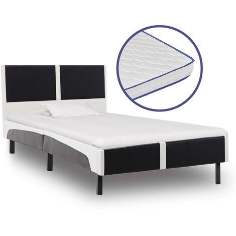 vidaXL Bett mit Memory-Schaum-Matratze Polsterbett Kunstlederbett Doppelbett Schlafzimmerbett Bettgestell Bettrahmen Lattenrost mehrere Auswahl