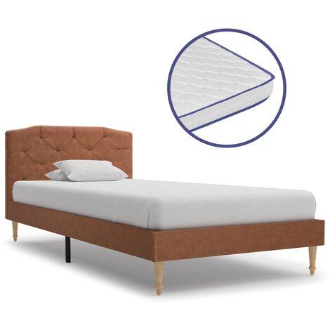 vidaXL Bett mit Memory-Schaum-Matratze Polsterbett Stoffbett Doppelbett Ehebett Bettgestell Bettrahmen Lattenrost Schlafzimmerbett Stoff mehrere Auswahl