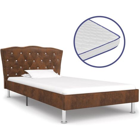 vidaXL Bett mit Memory-Schaum-Matratze Polsterbett Stoffbett Doppelbett Schlafzimmerbett Bettgestell Bettrahmen Lattenrost Stoff mehrere Auswahl