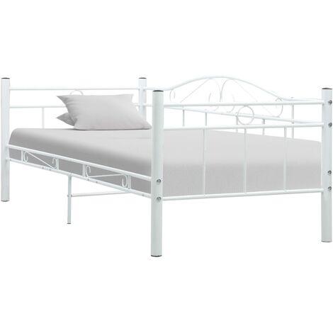 vidaXL Bettgestell Bett Metallbett Schlafzimmerbett Einzelbett Ehebett Bettrahmen Schlafzimmermöbel Lattenrost Metall 90x200cm Schwarz/Weiß