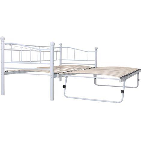 vidaXL Bettgestell Metallbett Bett Tagesbett Gästebett Schlafzimmerbett Bettrahmen Einzelbett Doppelbett Stahl 180x200/90x200cm Schwarz/Weiß