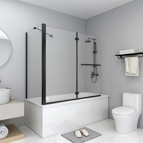 "main image of ""vidaXL Bi-Folding Shower Enclosure ESG 120x68x130 cm Black"""
