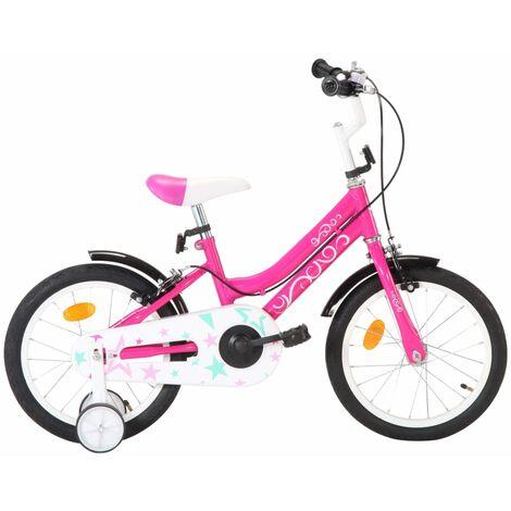 """main image of """"vidaXL Bicicleta para niños 16 pulgadas negro y rosa - Rosa"""""""