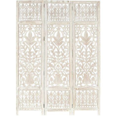 vidaXL Biombo 3 paneles tallado a mano madera mango blanco 120x165 cm - Blanco
