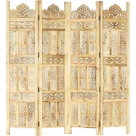vidaXL Biombo 4 paneles tallado a mano madera maciza mango 160x165 cm - Marrón