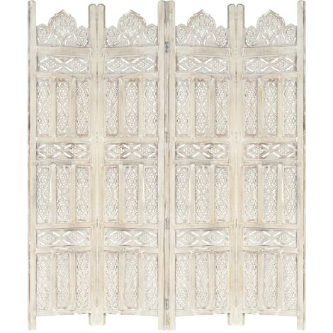 vidaXL Biombo 4 paneles tallado a mano madera mango blanco 160x165 cm - Blanco