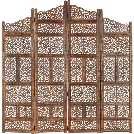 vidaXL Biombo 4 paneles tallado a mano madera mango marrón 160x165 cm - Marrón