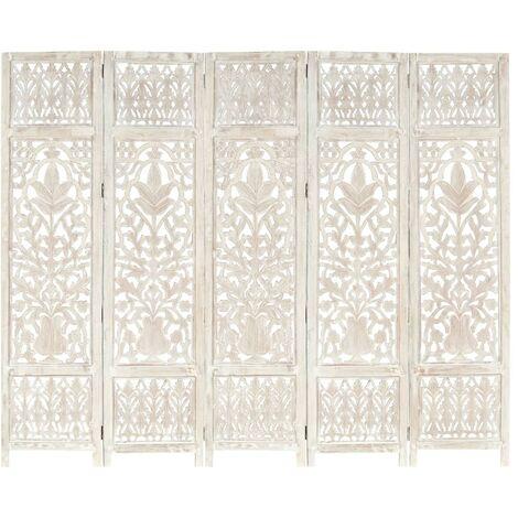 vidaXL Biombo 5 paneles tallado a mano madera mango blanco 200x165 cm - Blanco