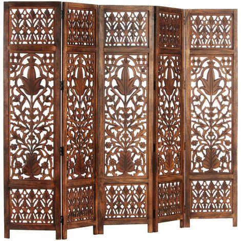 vidaXL Biombo 5 paneles tallado a mano madera mango marrón 200x165 cm - Gris