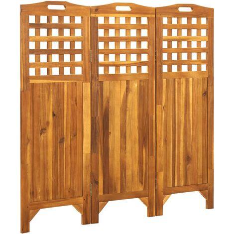 vidaXL Biombo de 3 paneles madera maciza de acacia 121x2x120 cm - Marrón