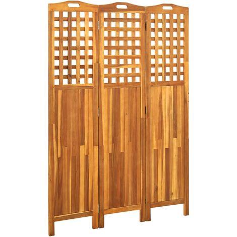 vidaXL Biombo de 3 paneles madera maciza de acacia 121x2x170 cm - Marrón