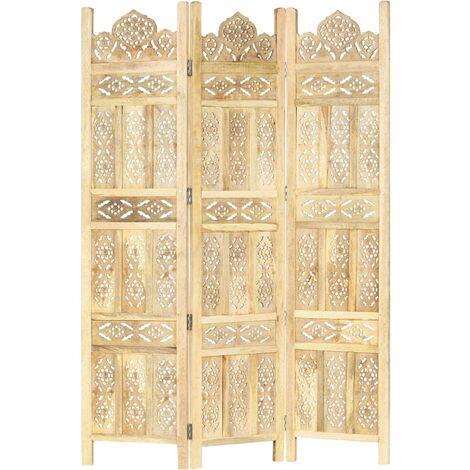 vidaXL Biombo de 3 paneles tallado a mano madera de mango 120x165 cm - Marrón