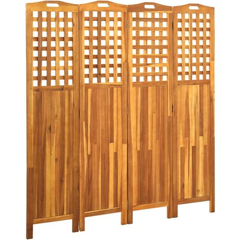 vidaXL Biombo de 4 paneles madera maciza de acacia 121x2x120 cm - Marrón
