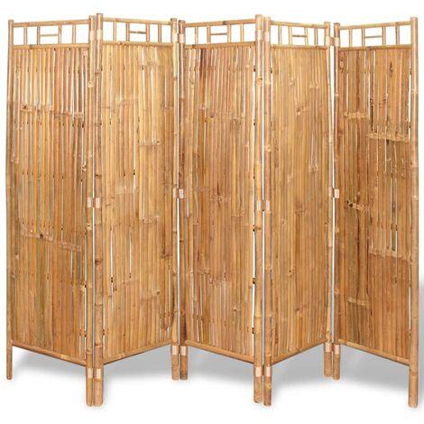 vidaXL Biombo divisor 5 paneles bambú 200x160 cm - Marrón