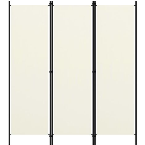 vidaXL Biombo divisor de 3 paneles blanco crema 150x180 cm - Crema