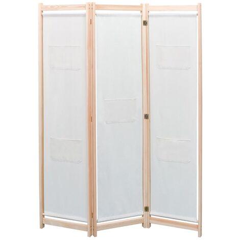 vidaXL Biombo divisor de 3 paneles de tela color crema 120x170x4 cm - Crema