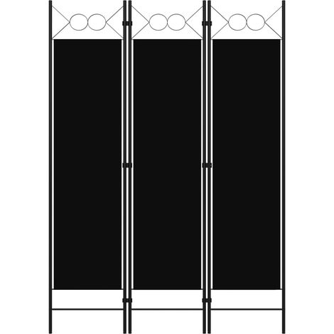 vidaXL Biombo divisor de 3 paneles negro 120x180 cm - Negro
