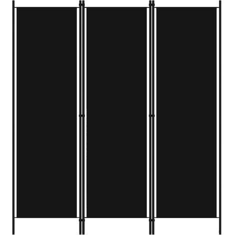 "main image of ""vidaXL Biombo divisor de 3 paneles negro 150x180 cm - Negro"""