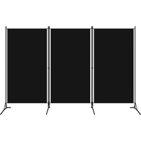 vidaXL Biombo divisor de 3 paneles negro 260x180 cm - Negro