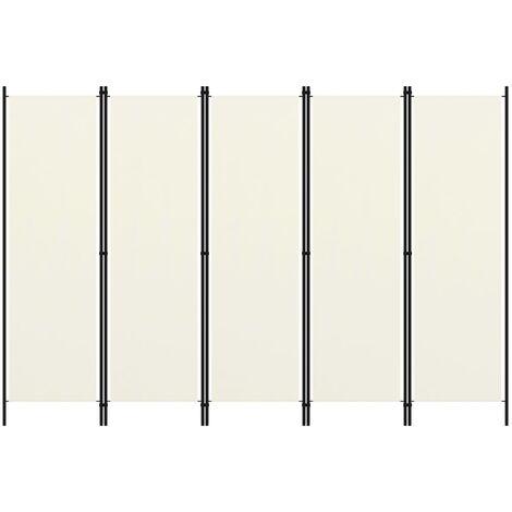 vidaXL Biombo divisor de 5 paneles blanco crema 250x180 cm - Crema