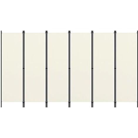 vidaXL Biombo divisor de 6 paneles blanco crema 300x180 cm - Crema