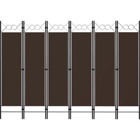 vidaXL Biombo divisor de 6 paneles marrón 240x180 cm - Marrón