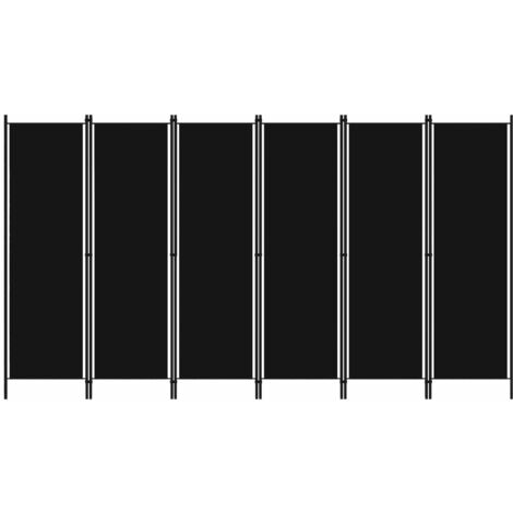 vidaXL Biombo divisor de 6 paneles negro 300x180 cm - Negro