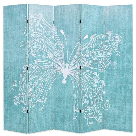 vidaXL Biombo divisor plegable 200x170 cm mariposa azul - Azul