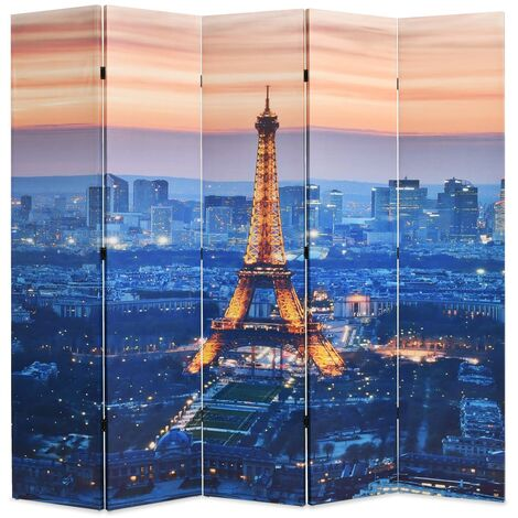 vidaXL Biombo divisor plegable 200x170 cm París de noche - Multicolor
