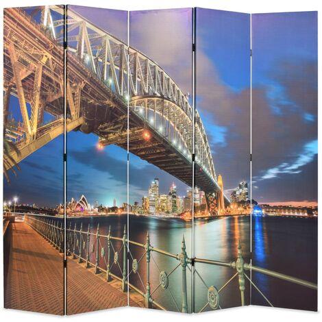 vidaXL Biombo divisor plegable 200x170 cm puente Harbour Sydney - Multicolor