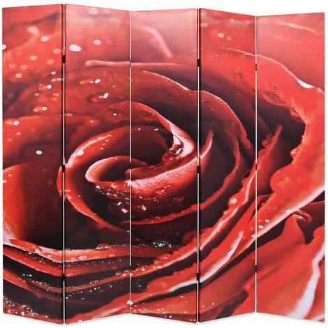 vidaXL Biombo divisor plegable 200x170 cm rosa roja - Rojo