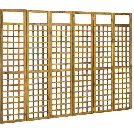 vidaXL Biombo/Enrejado de 6 paneles madera maciza de acacia 240x170 cm - Marrón