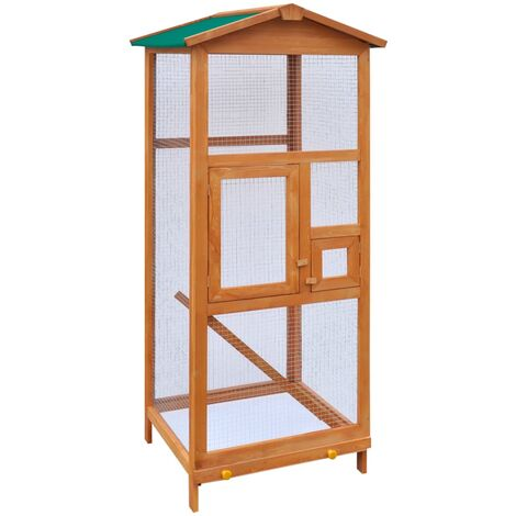 vidaXL Bird Cage Wood 65x63x165 cm - Brown